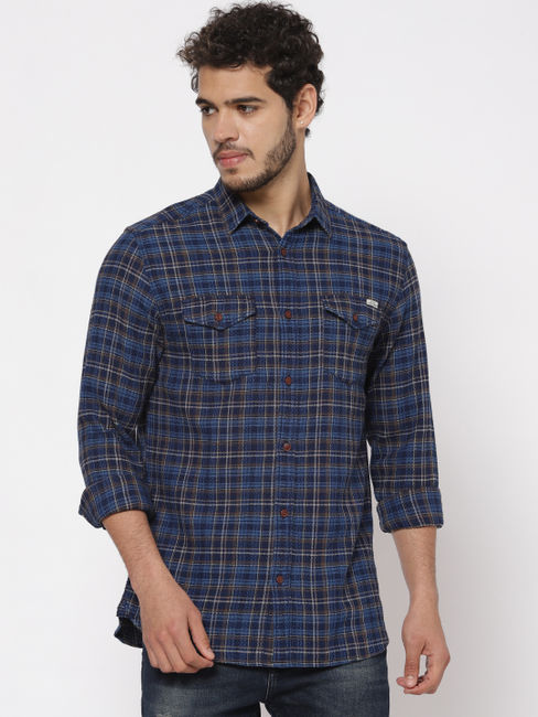 Blue Check Slim Fit Full Sleeves Shirt