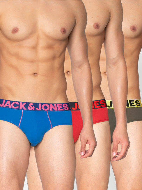 Pack of Three Solid Briefs - Red, Blue and Green