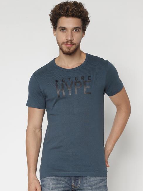 Deep Teal Text Print Crew Neck T-shirt
