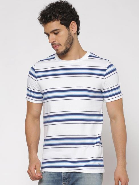 White Striped Slim Fit Crew Neck T-shirt