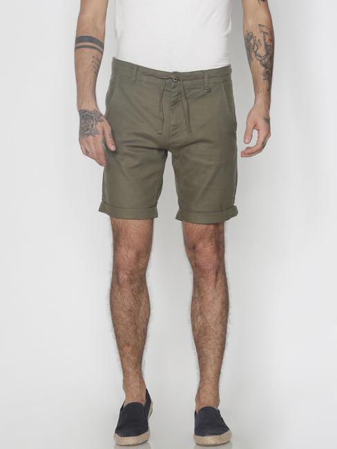 Green Drawstring Chino Shorts