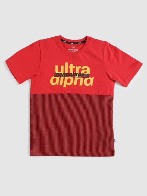 Junior Red Print Blocked Crew Neck T-shirt