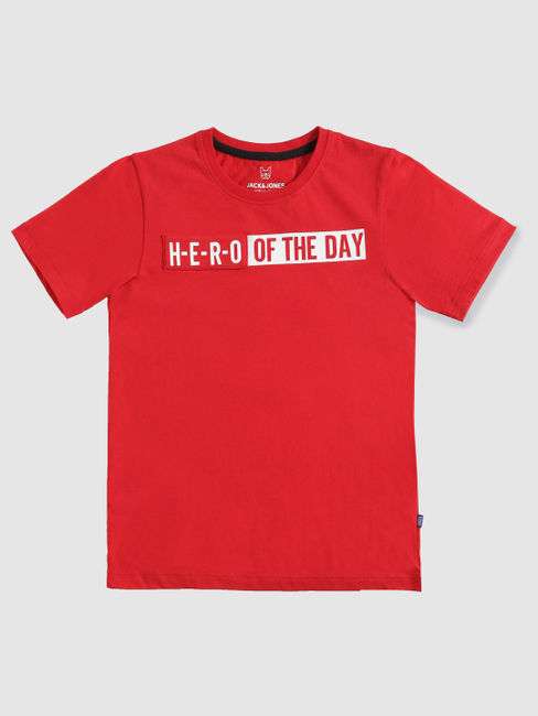Junior Red Text Print Slim Fit Crew Neck T-shirt