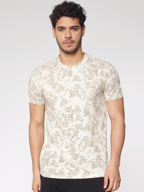 Cream Printed Crew Neck T-Shirt
