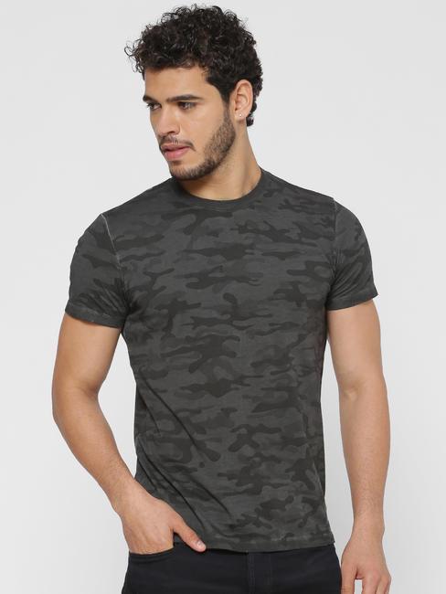 Grey Camo Print Crew Neck T-shirt