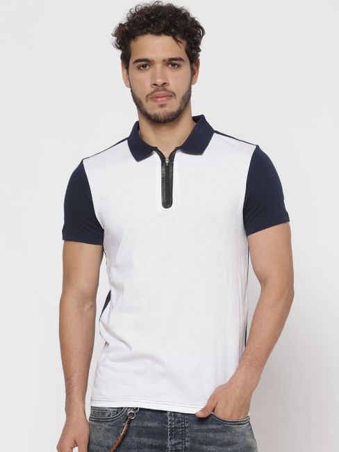 White Colour Blocked Polo Neck T-shirt
