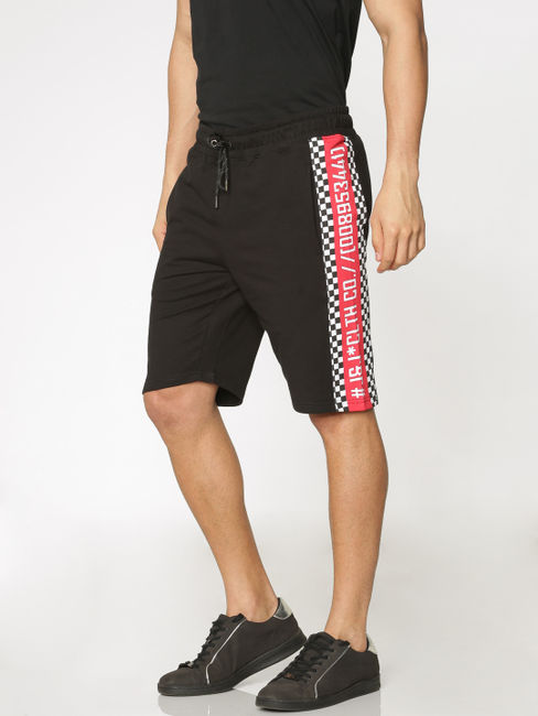 Black Side Tape and Racer Stripe Print Drawstring Shorts