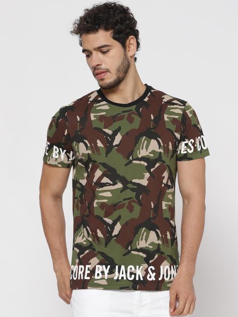 Green Camo Print Crew Neck T-Shirt
