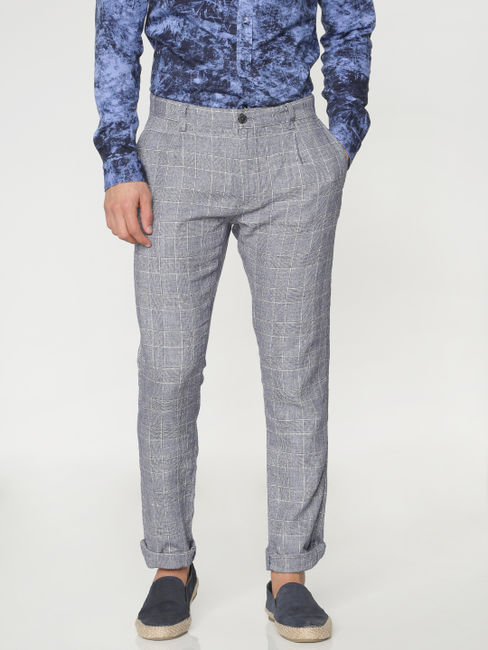 Grey Checks Pants