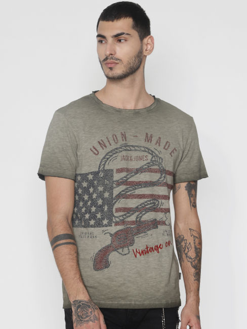 Green Faded Graphic Print Crew Neck T-shirt