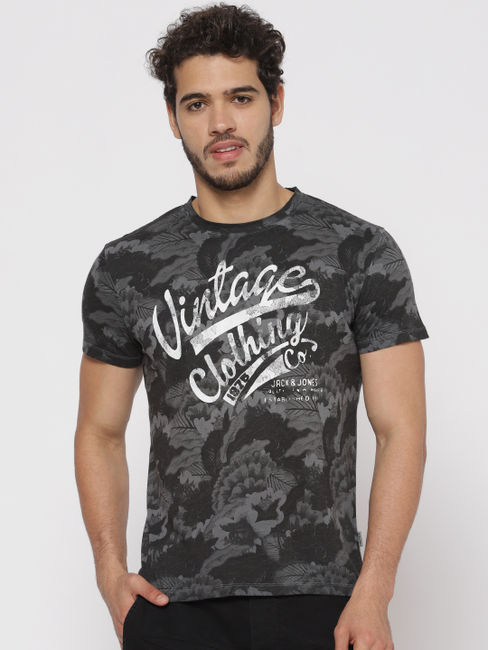 Black All Over Print Crew Neck T-shirt