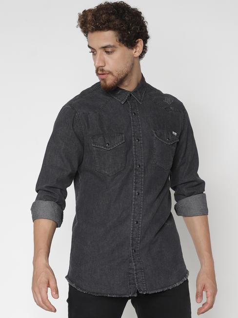 Black Denim Full Sleeves Shirt