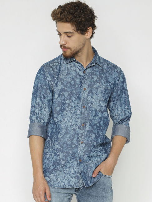Blue Floral Print Full Sleeves Shirt