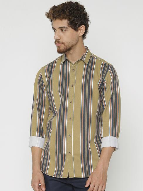 Green Striped Slim Fit Full Sleeves Shirt