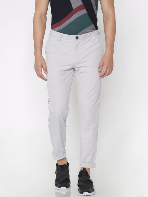 Grey Tape Detail Trousers