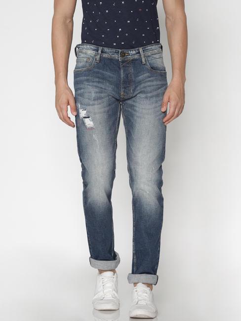 Blue Faded Distressed Tim Slim Fit Jeans
