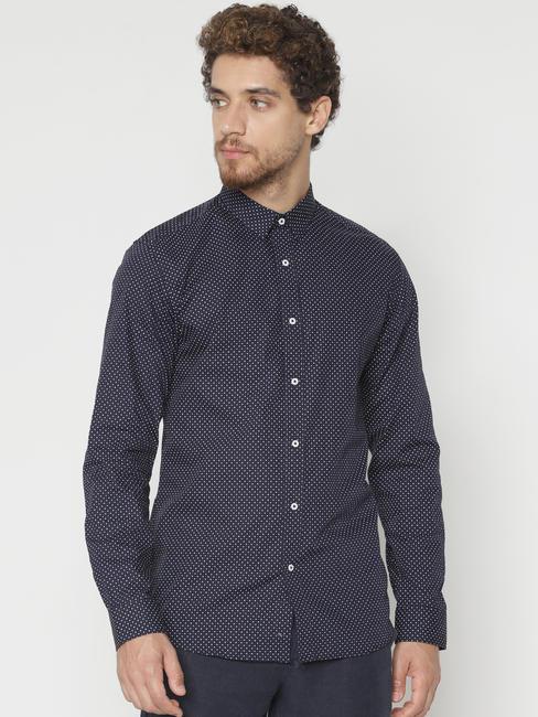 Navy Blue Printed Slim Fit Full Sleeves Shirt