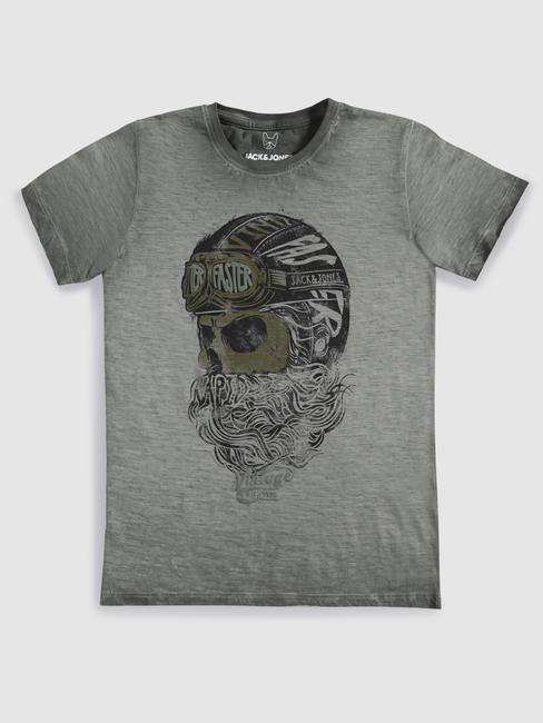 Junior Grey Faded Graphic Print Crew Neck T-shirt