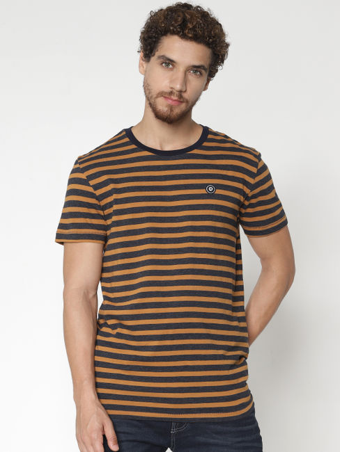 Brown Striped Crew Neck T-shirt