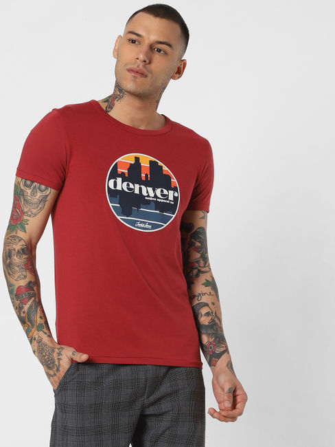 Red Denver Text Print Crew Neck T-shirt