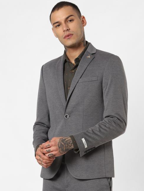 Grey Double Button Blazer