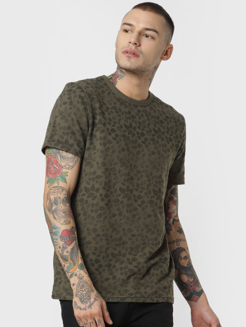 Green All Over Print Crew Neck T-shirt