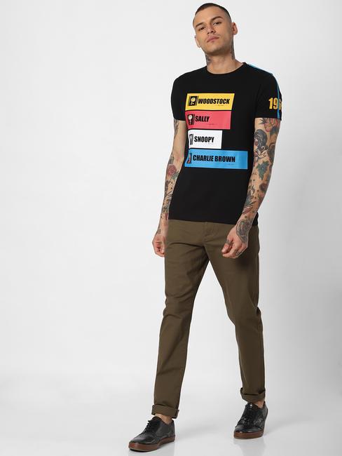 X Snoopy Black Graphic Print Crew Neck T-Shirt