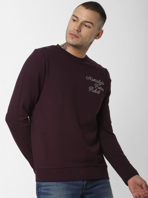 Dark Purple Embroidered Text Sweatshirt