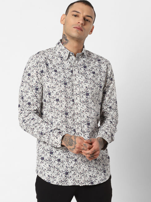 White All Over Print Full Sleeves Shirt