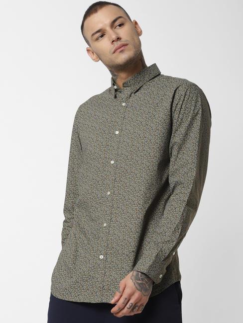 Green Printed Full Sleeves Shirt