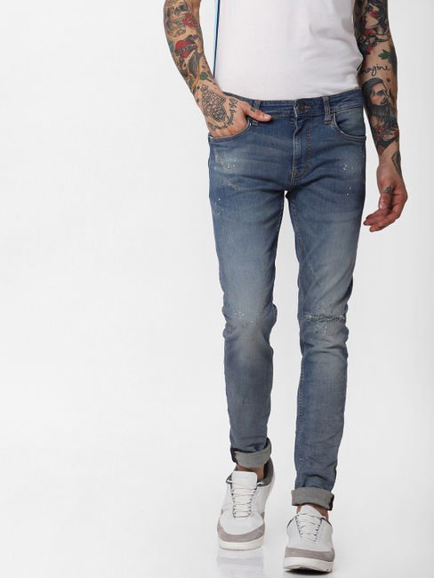 Blue Low Rise Ripped Liam Skinny Fit Jeans