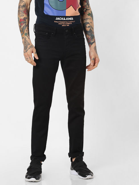 Jack & Jones Black Low Rise 'STAY BLACK' Glenn Slim Jeans
