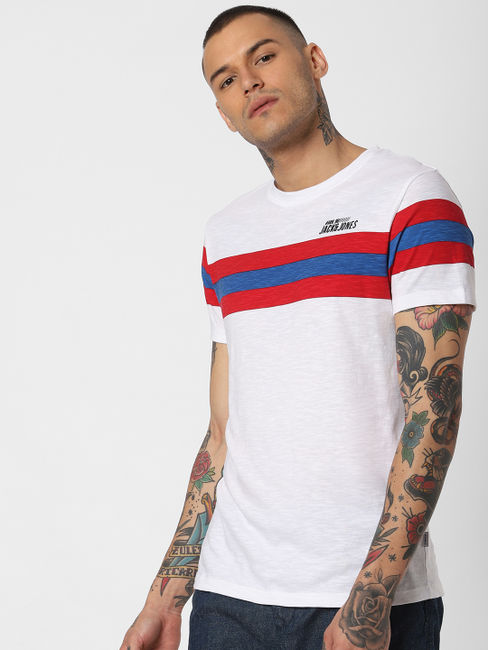 White Striped Patch Crew Neck T-shirt