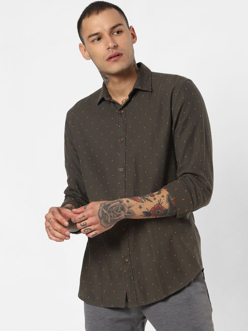 Dark Green Printed Full Sleeves Shirt