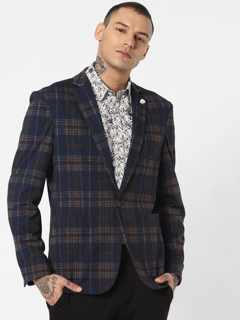Dark Blue Check Blazer