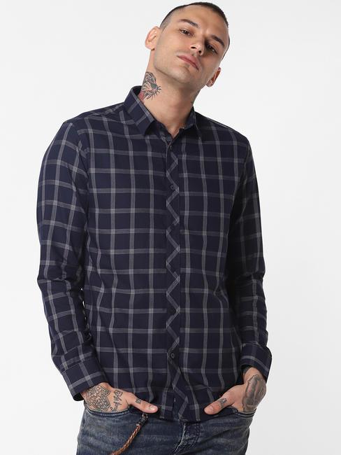 Dark Blue Check Full Sleeves Shirt