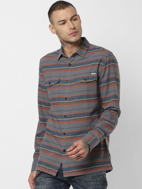 Grey Striped Full Sleeves Shirt