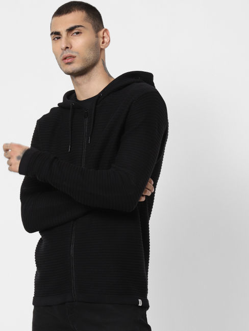 Black Ribbed Hooded Cardigan