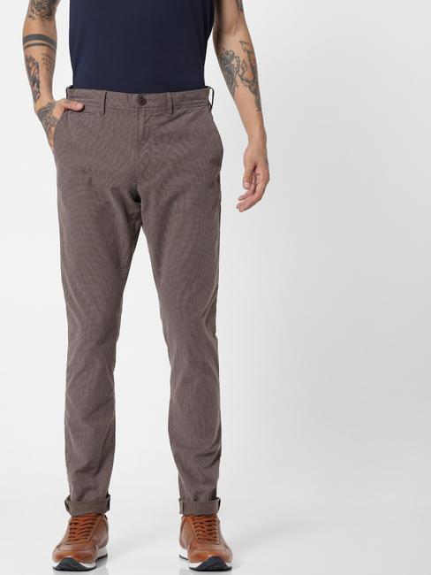 Brown Printed Slim Fit Pants