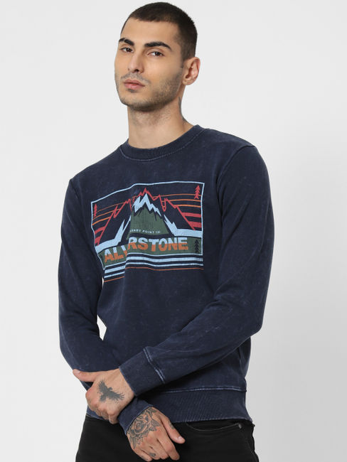Blue Washed Graphic Print Sweatshirt