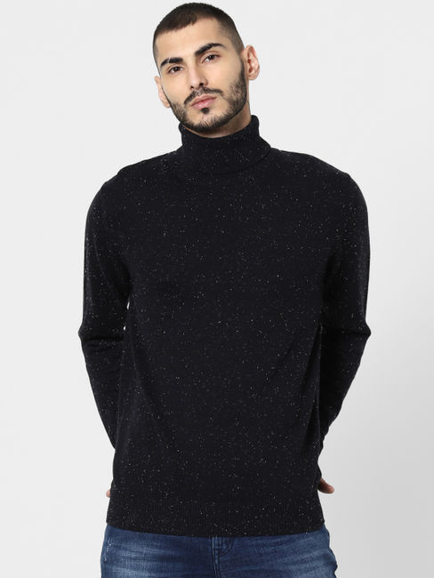 Black Printed Turtle Neck Pullover