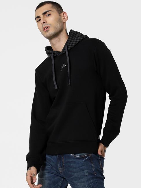 Black Check Hooded Sweatshirt