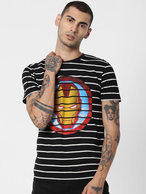 x Power of Icon Black Iron Man Crew Neck T-shirt