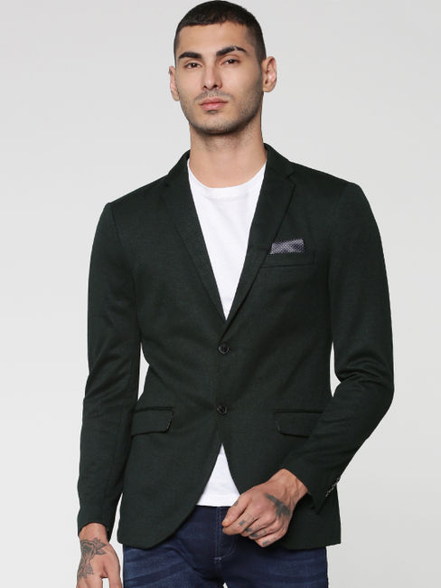 Green Textured Weave Double Button Slim Fit Blazer