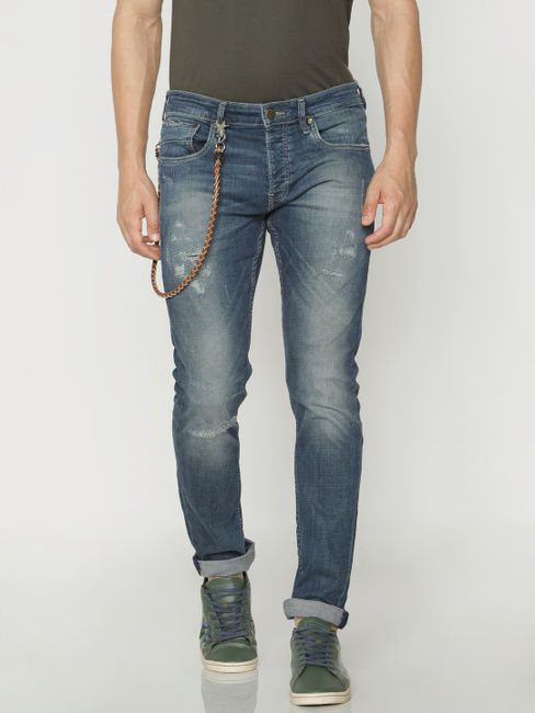 Blue Ripped Tim Slim Fit Jeans