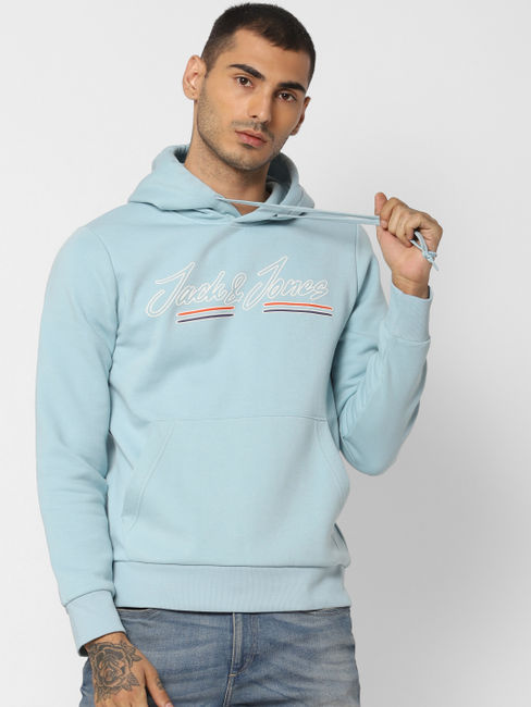 Blue Logo Print Hooded Sweatshirt