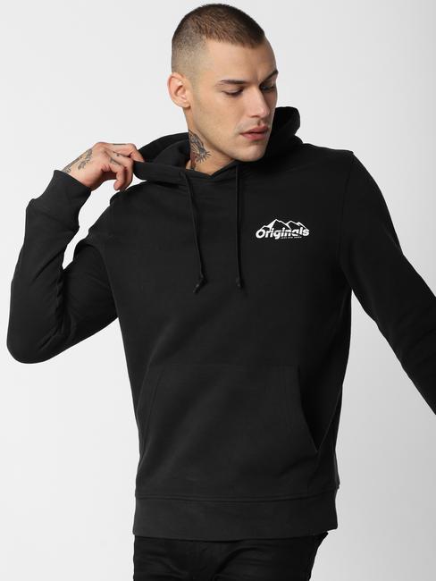 Black Back Patch Print Sweatshirt