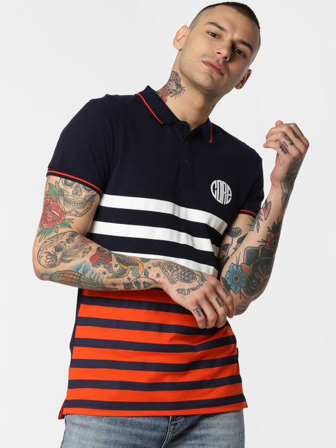 Navy Blue Striped Polo Neck T-shirt