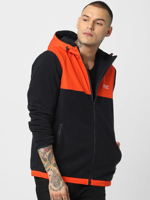 Orange Hooded Fleece Jacket
