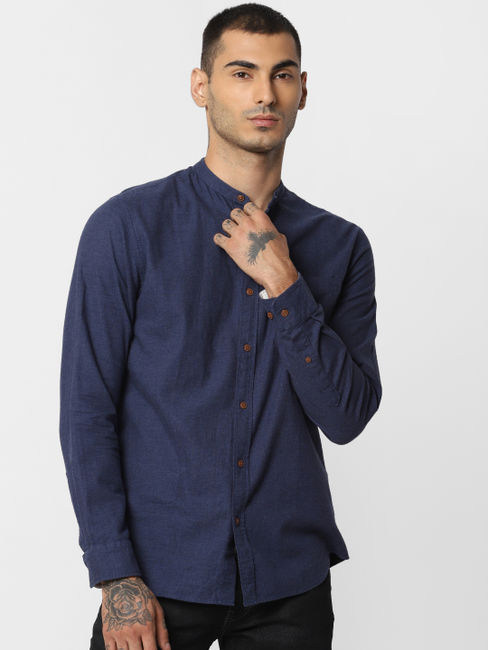 Blue Button Down Full Sleeves Shirt